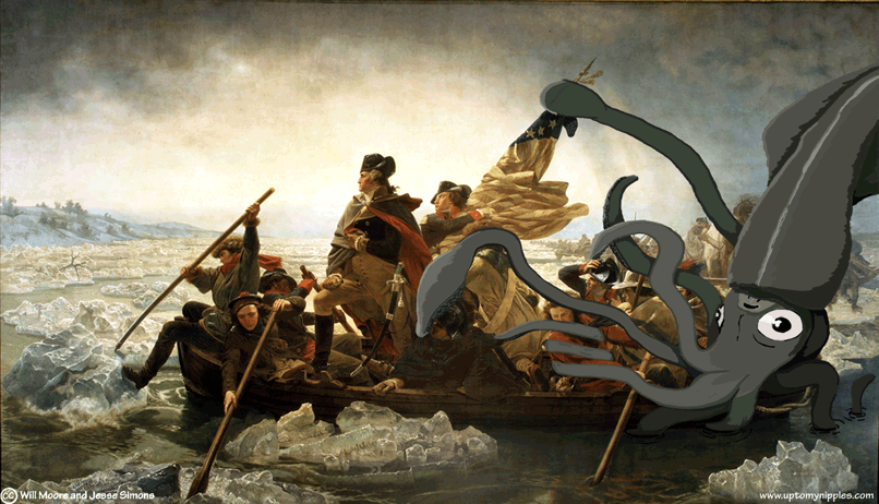 Washington Crossing the Sea Monster comic